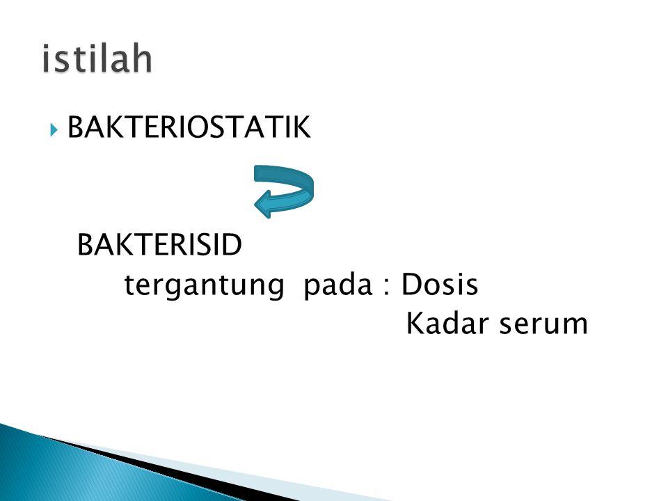  BAKTERIOSTATIK BAKTERISID tergantung pada : Dosis Kadar serum