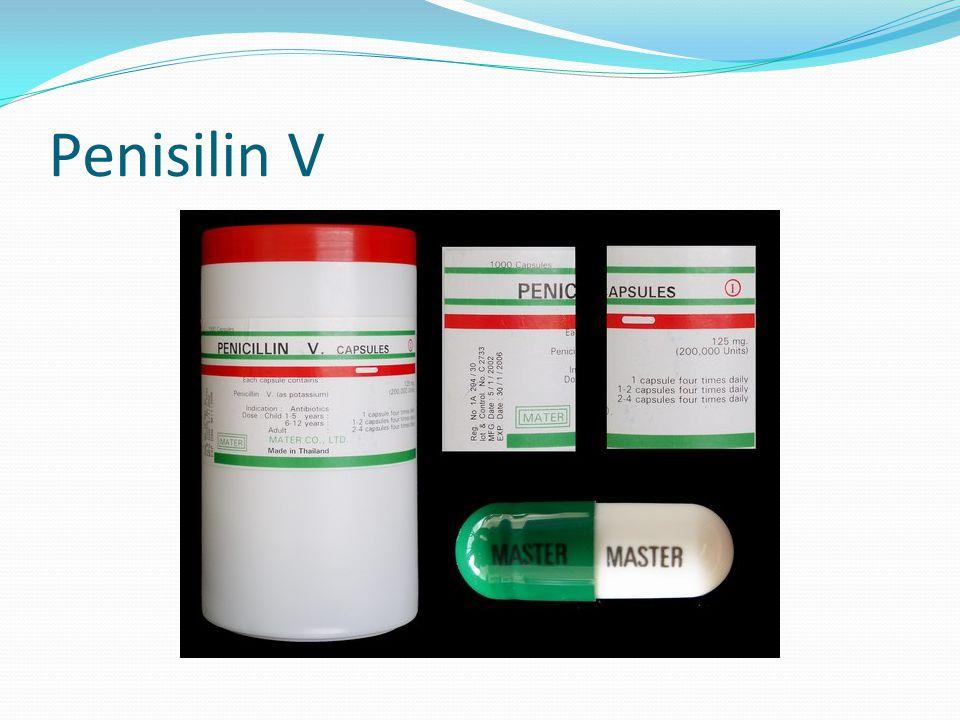 Penisilin Satuan potensi : mg, IU (Internasional Unit) Efek samping : Reaksi alergi >>  mulai ditinggalkan