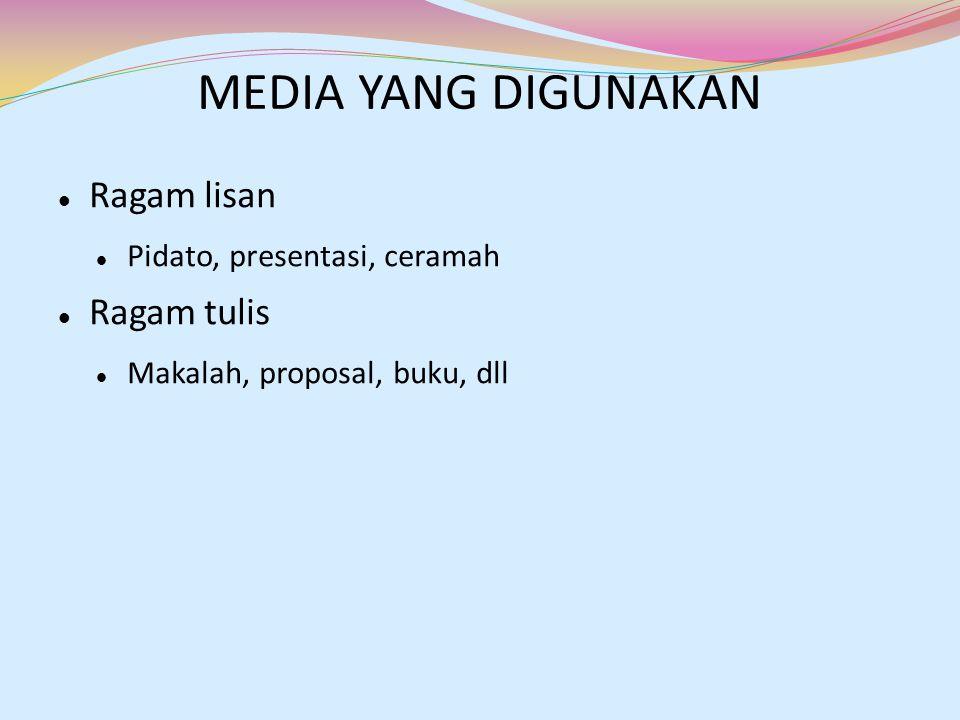 MEDIA YANG DIGUNAKAN Ragam lisan Pidato, presentasi, ceramah Ragam tulis Makalah, proposal, buku, dll
