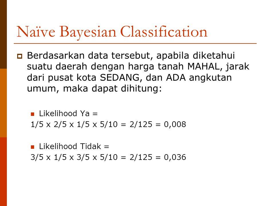 Naïve Bayesian Classification  Berdasarkan data tersebut, apabila diketahui suatu daerah dengan harga tanah MAHAL, jarak dari pusat kota SEDANG, dan