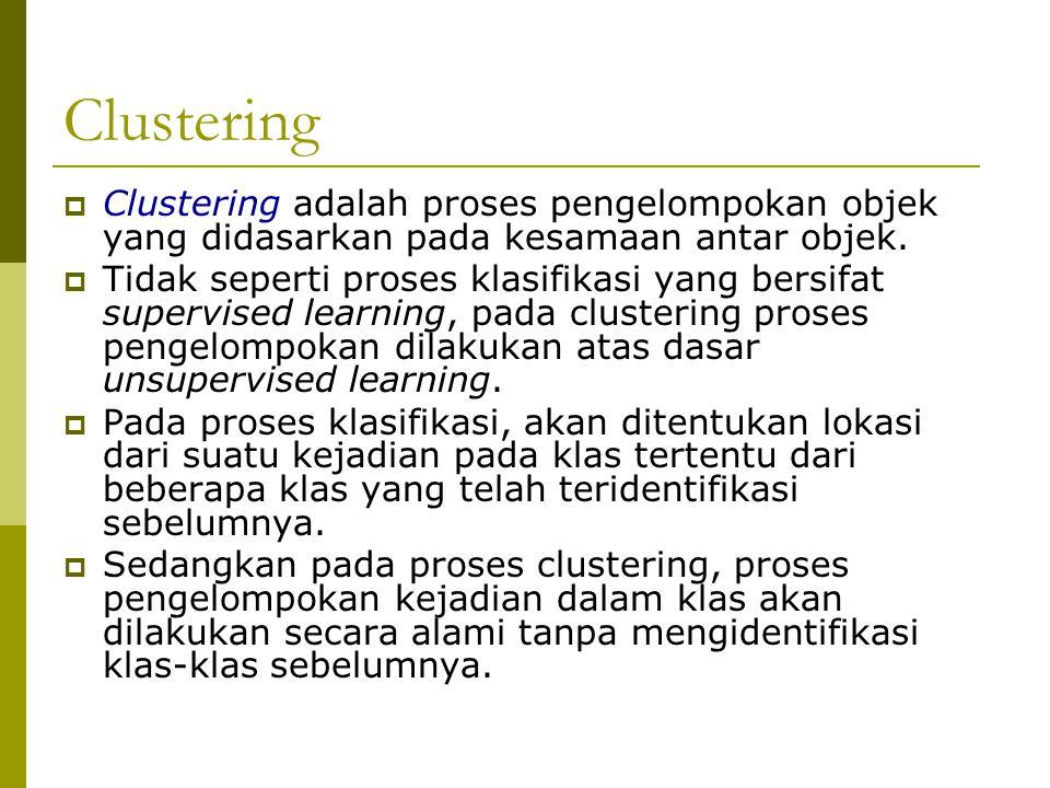 Clustering  Clustering adalah proses pengelompokan objek yang didasarkan pada kesamaan antar objek.  Tidak seperti proses klasifikasi yang bersifat