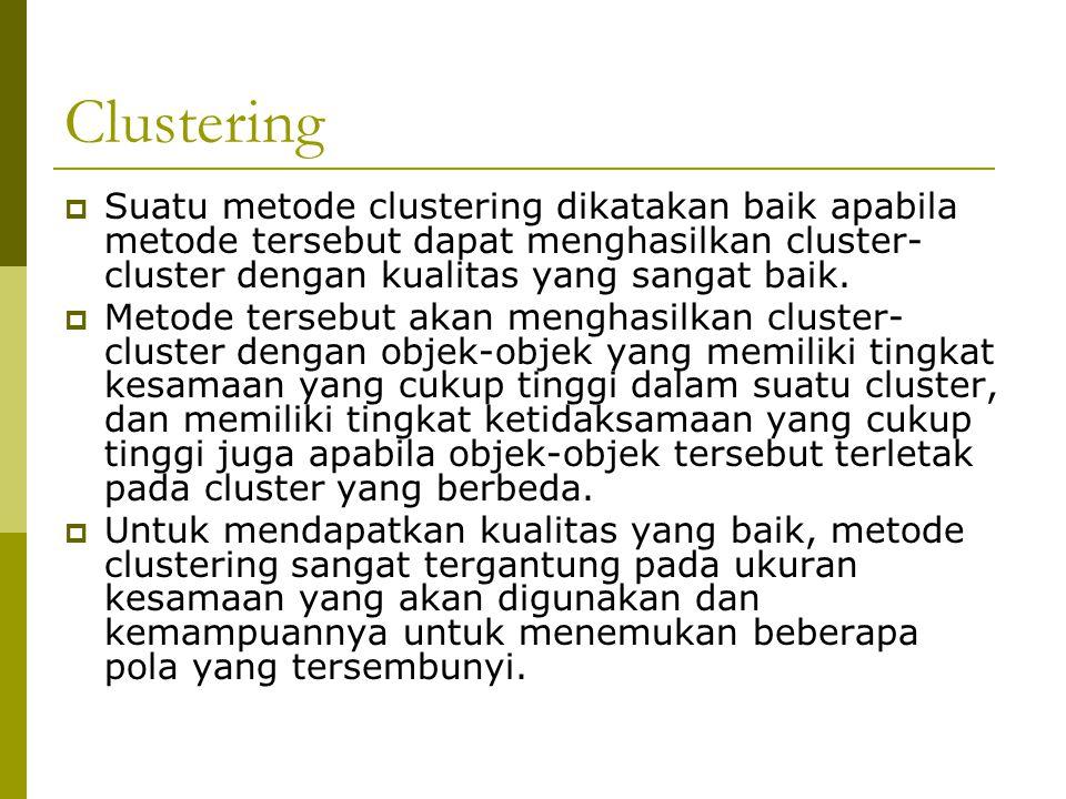 Clustering  Suatu metode clustering dikatakan baik apabila metode tersebut dapat menghasilkan cluster- cluster dengan kualitas yang sangat baik.  Me