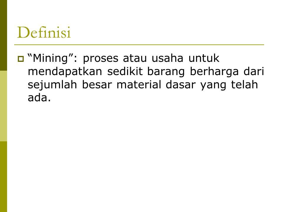 """Definisi  """"Mining"""": proses atau usaha untuk mendapatkan sedikit barang berharga dari sejumlah besar material dasar yang telah ada."""