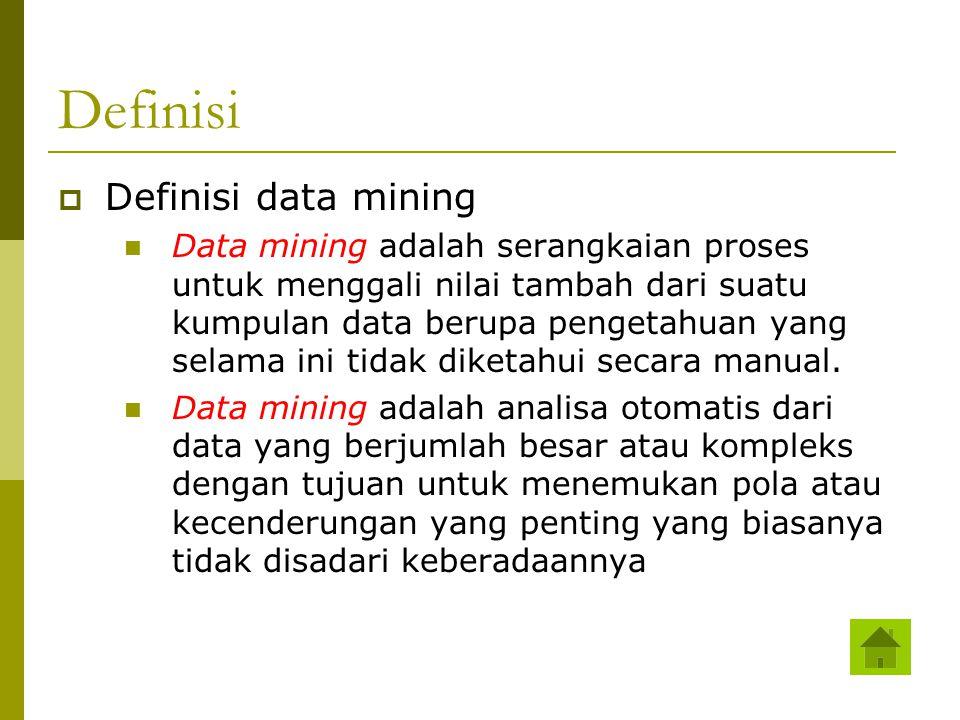 Definisi  Definisi data mining Data mining adalah serangkaian proses untuk menggali nilai tambah dari suatu kumpulan data berupa pengetahuan yang sel