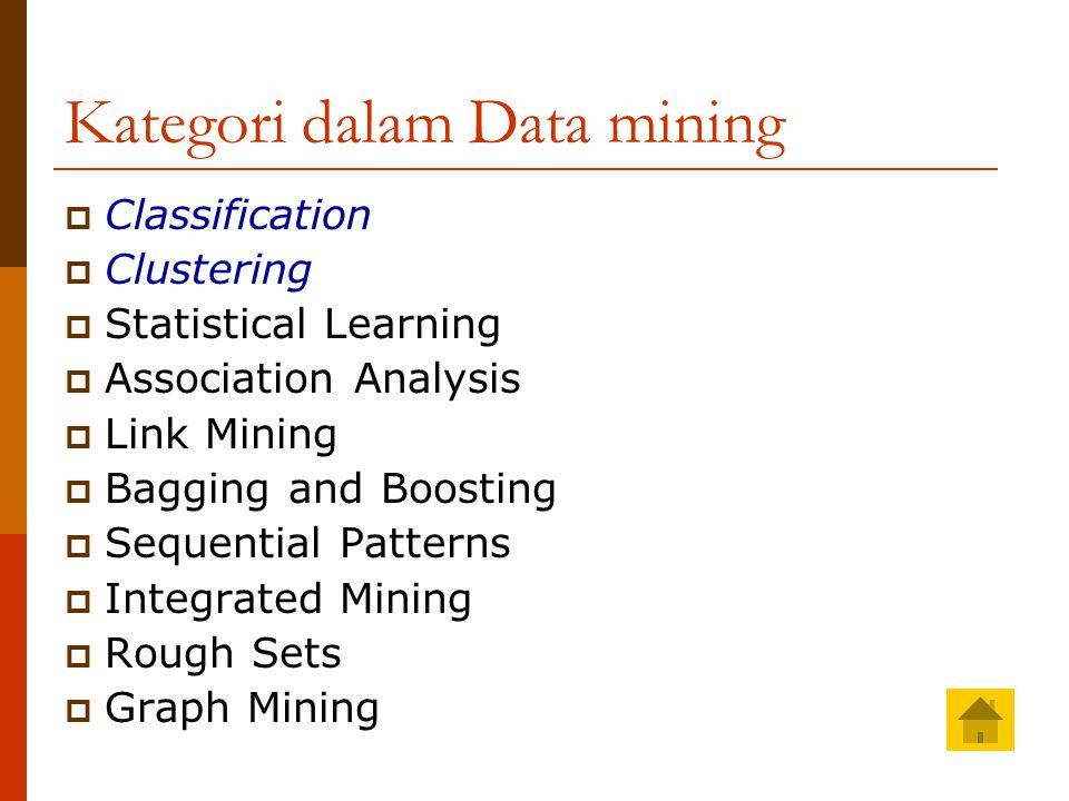 Classification  Klasifikasi adalah suatu proses pengelom- pokan data dengan didasarkan pada ciri- ciri tertentu ke dalam kelas-kelas yang telah ditentukan pula.