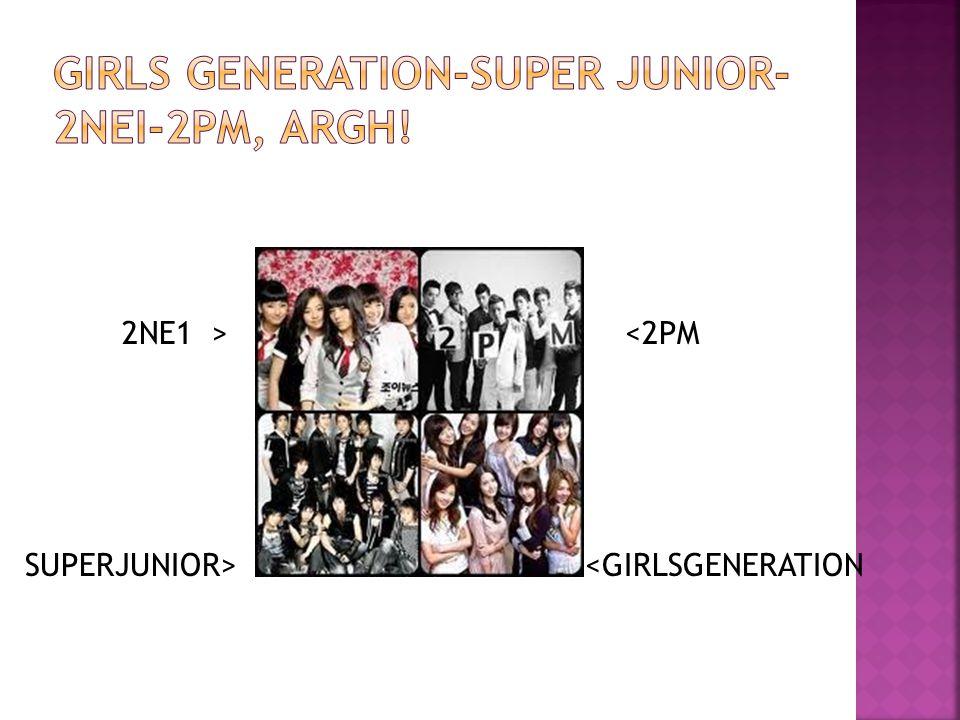 2NE1 > <2PM SUPERJUNIOR> <GIRLSGENERATION