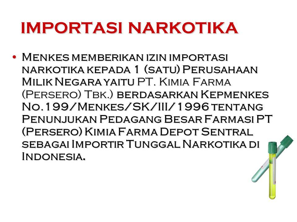 Menkes memberikan izin importasi narkotika kepada 1 (satu) Perusahaan Milik Negara yaitu PT.