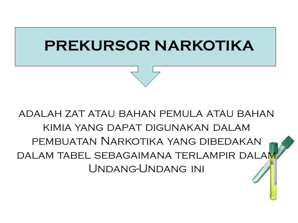 PREKURSOR NARKOTIKA adalah zat atau bahan pemula atau bahan kimia yang dapat digunakan dalam pembuatan Narkotika yang dibedakan dalam tabel sebagaimana terlampir dalam Undang-Undang ini