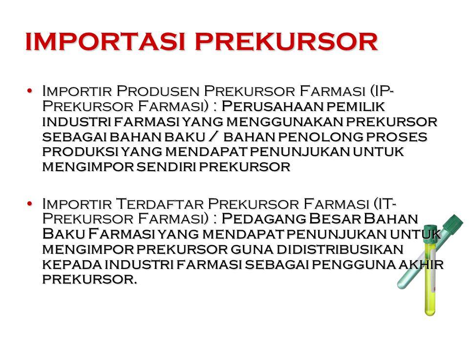 IMPORTASI PREKURSOR Importir Produsen Prekursor Farmasi (IP- Prekursor Farmasi) : Perusahaan pemilik industri farmasi yang menggunakan prekursor sebagai bahan baku / bahan penolong proses produksi yang mendapat penunjukan untuk mengimpor sendiri prekursorImportir Produsen Prekursor Farmasi (IP- Prekursor Farmasi) : Perusahaan pemilik industri farmasi yang menggunakan prekursor sebagai bahan baku / bahan penolong proses produksi yang mendapat penunjukan untuk mengimpor sendiri prekursor Importir Terdaftar Prekursor Farmasi (IT- Prekursor Farmasi) : Pedagang Besar Bahan Baku Farmasi yang mendapat penunjukan untuk mengimpor prekursor guna didistribusikan kepada industri farmasi sebagai pengguna akhir prekursor.Importir Terdaftar Prekursor Farmasi (IT- Prekursor Farmasi) : Pedagang Besar Bahan Baku Farmasi yang mendapat penunjukan untuk mengimpor prekursor guna didistribusikan kepada industri farmasi sebagai pengguna akhir prekursor.