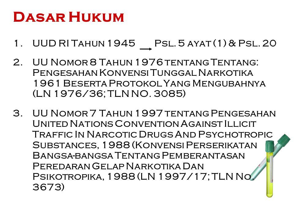 RUANG LINGKUP Pasal 5 Pengaturan Narkotika dalam Undang Undang ini meliputi segala bentuk kegiatan dan/atau perbuatan yang berhubungan dengan: a.