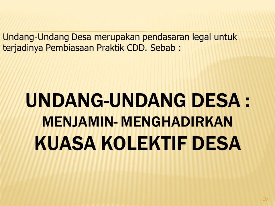 19 UNDANG-UNDANG DESA : MENJAMIN- MENGHADIRKAN KUASA KOLEKTIF DESA Undang-Undang Desa merupakan pendasaran legal untuk terjadinya Pembiasaan Praktik CDD.