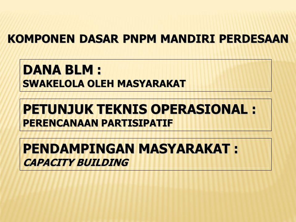 KOMPONEN DASAR PNPM MANDIRI PERDESAAN DANA BLM : SWAKELOLA OLEH MASYARAKAT PENDAMPINGANMASYARAKAT : PENDAMPINGAN MASYARAKAT : CAPACITY BUILDING PETUNJUK TEKNIS OPERASIONAL : PERENCANAAN PARTISIPATIF