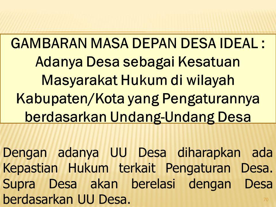 70 GAMBARAN MASA DEPAN DESA IDEAL : Adanya Desa sebagai Kesatuan Masyarakat Hukum di wilayah Kabupaten/Kota yang Pengaturannya berdasarkan Undang-Undang Desa Dengan adanya UU Desa diharapkan ada Kepastian Hukum terkait Pengaturan Desa.