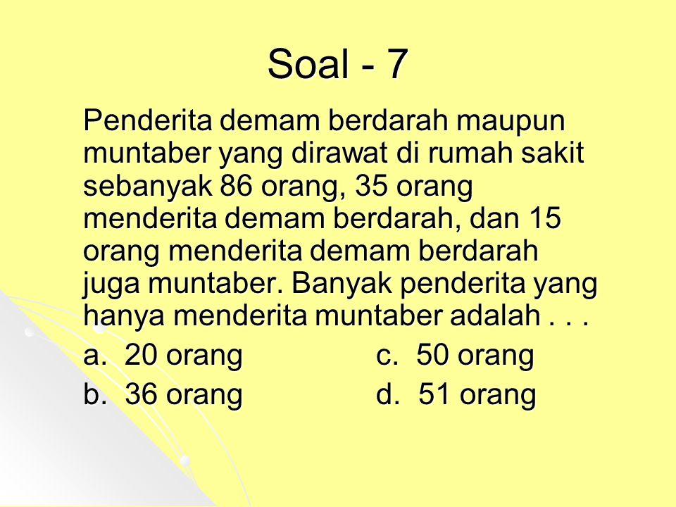 Soal - 7 Penderita demam berdarah maupun muntaber yang dirawat di rumah sakit sebanyak 86 orang, 35 orang menderita demam berdarah, dan 15 orang mende