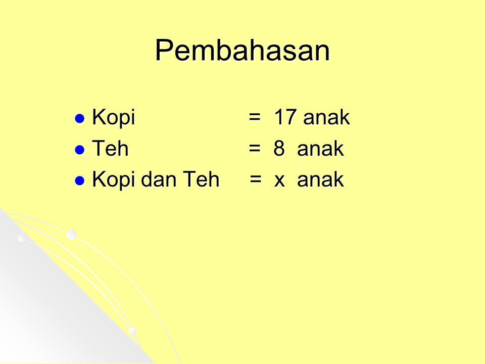 Pembahasan Kopi = 17 anak Teh = 8 anak Kopi dan Teh = x anak