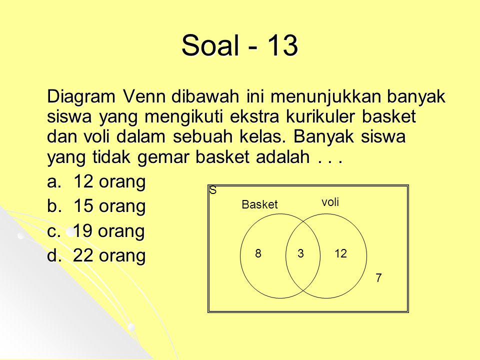 Soal - 13 Diagram Venn dibawah ini menunjukkan banyak siswa yang mengikuti ekstra kurikuler basket dan voli dalam sebuah kelas. Banyak siswa yang tida
