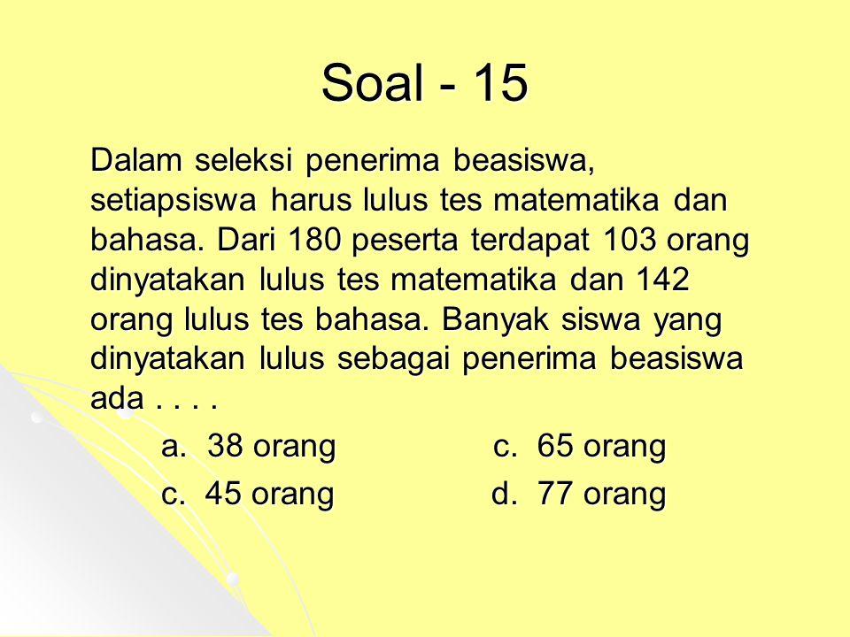 Soal - 15 Dalam seleksi penerima beasiswa, setiapsiswa harus lulus tes matematika dan bahasa. Dari 180 peserta terdapat 103 orang dinyatakan lulus tes