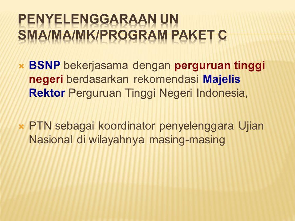  BSNP bekerjasama dengan perguruan tinggi negeri berdasarkan rekomendasi Majelis Rektor Perguruan Tinggi Negeri Indonesia,  PTN sebagai koordinator penyelenggara Ujian Nasional di wilayahnya masing-masing