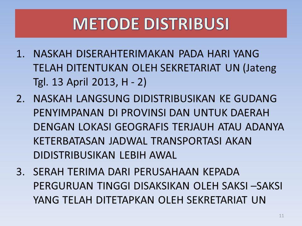 1.NASKAH DISERAHTERIMAKAN PADA HARI YANG TELAH DITENTUKAN OLEH SEKRETARIAT UN (Jateng Tgl. 13 April 2013, H - 2) 2.NASKAH LANGSUNG DIDISTRIBUSIKAN KE