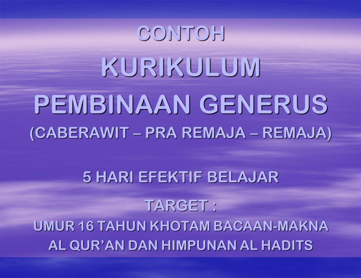CONTOHKURIKULUM PEMBINAAN GENERUS (CABERAWIT – PRA REMAJA – REMAJA) 5 HARI EFEKTIF BELAJAR TARGET : UMUR 16 TAHUN KHOTAM BACAAN-MAKNA AL QUR'AN DAN HIMPUNAN AL HADITS