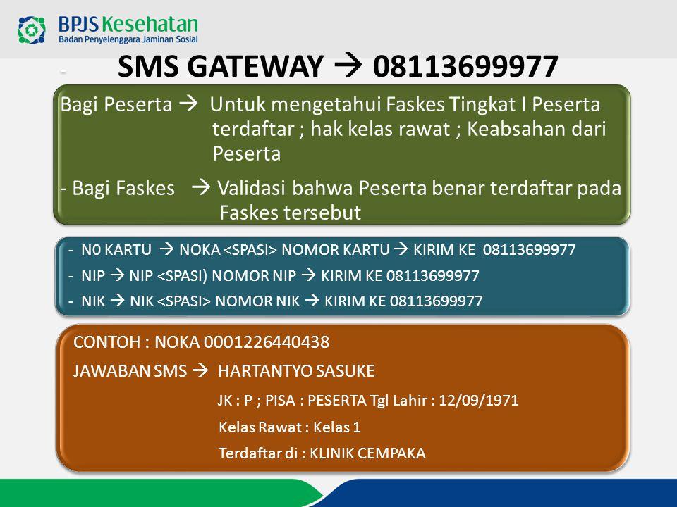 SMS GATEWAY  08113699977 - Bagi Peserta  Untuk mengetahui Faskes Tingkat I Peserta terdaftar ; hak kelas rawat ; Keabsahan dari Peserta - Bagi Faske