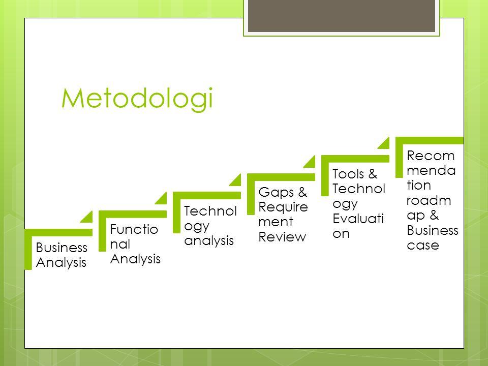 Hasil yang diharapkan dari metodologi  Business analysis - Business goal  Functional Analysis - Business function - Gap dan kesempatan - Kebutuhan fungsional  Technology analysis - Teknologi terkini - Teknologi kedepan - infrastruktur - Kebutuhan teknologi