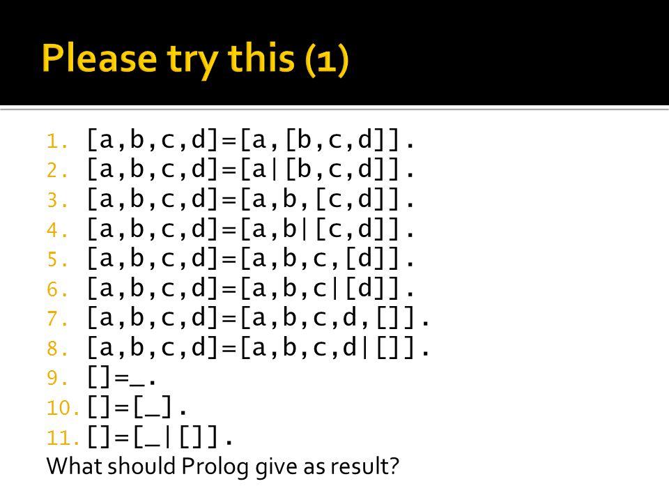 1. [a,b,c,d]=[a,[b,c,d]]. 2. [a,b,c,d]=[a|[b,c,d]]. 3. [a,b,c,d]=[a,b,[c,d]]. 4. [a,b,c,d]=[a,b|[c,d]]. 5. [a,b,c,d]=[a,b,c,[d]]. 6. [a,b,c,d]=[a,b,c|