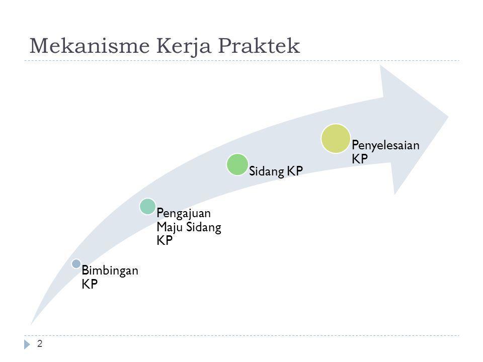 Mekanisme Kerja Praktek 2 Bimbingan KP Pengajuan Maju Sidang KP Sidang KP Penyelesaian KP