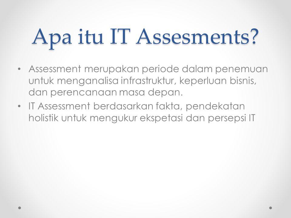 Assessment merupakan periode dalam penemuan untuk menganalisa infrastruktur, keperluan bisnis, dan perencanaan masa depan.
