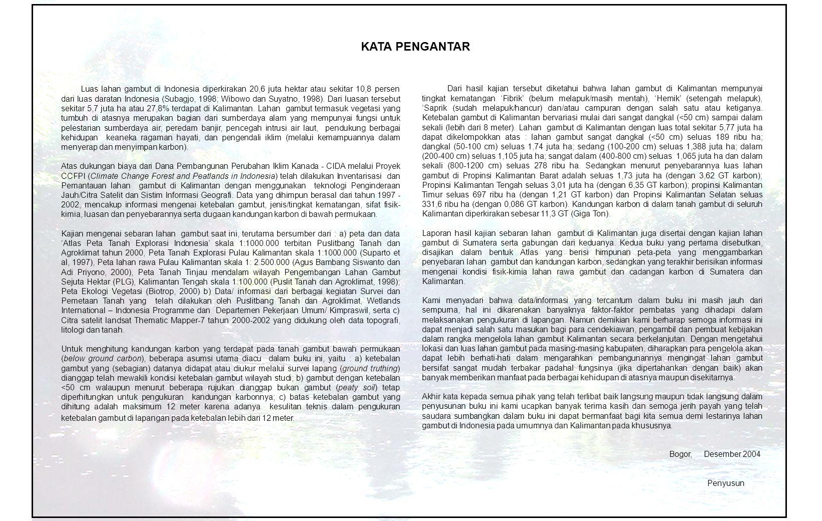 Luas lahan gambut di Indonesia diperkirakan 20,6 juta hektar atau sekitar 10,8 persen dari luas daratan Indonesia (Subagjo, 1998; Wibowo dan Suyatno, 1998).
