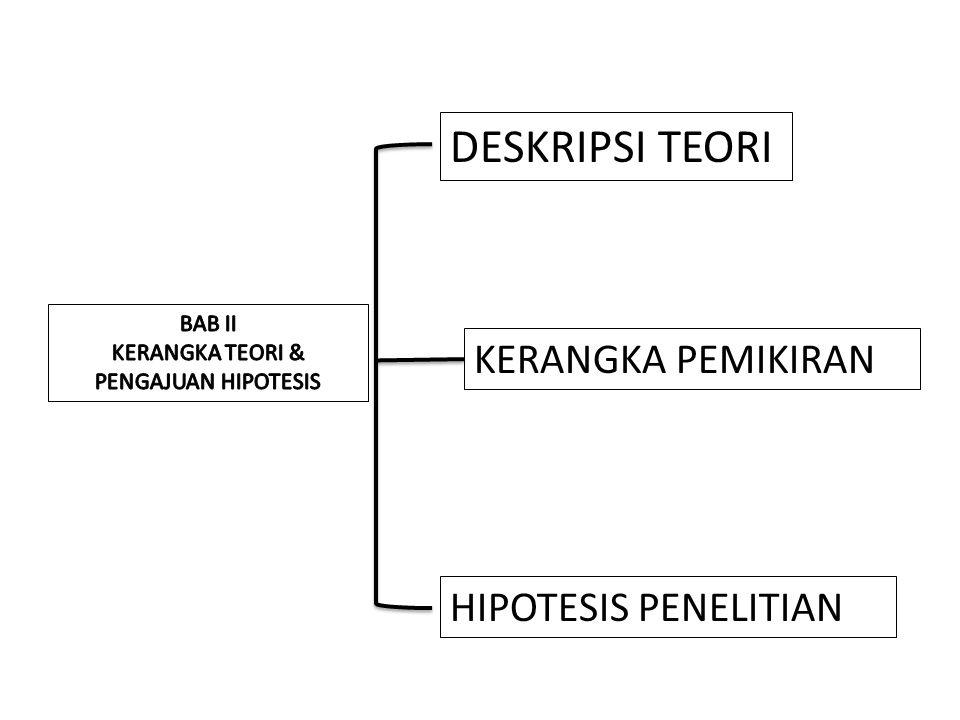 DESKRIPSI TEORI KERANGKA PEMIKIRAN HIPOTESIS PENELITIAN