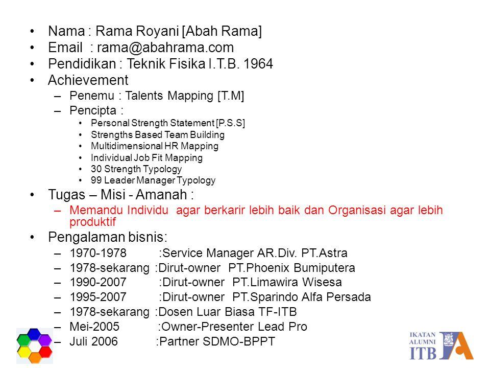 Nama : Rama Royani [Abah Rama] Email : rama@abahrama.com Pendidikan : Teknik Fisika I.T.B. 1964 Achievement –Penemu : Talents Mapping [T.M] –Pencipta