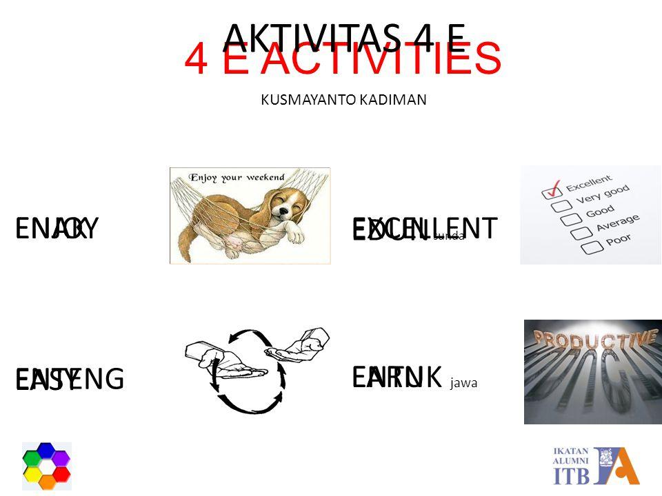 4 E ACTIVITIES AKTIVITAS 4 E KUSMAYANTO KADIMAN ENJOY ENTUK jawa EARN EDUN sunda EXCELLENT ENTENG EASY ENAK