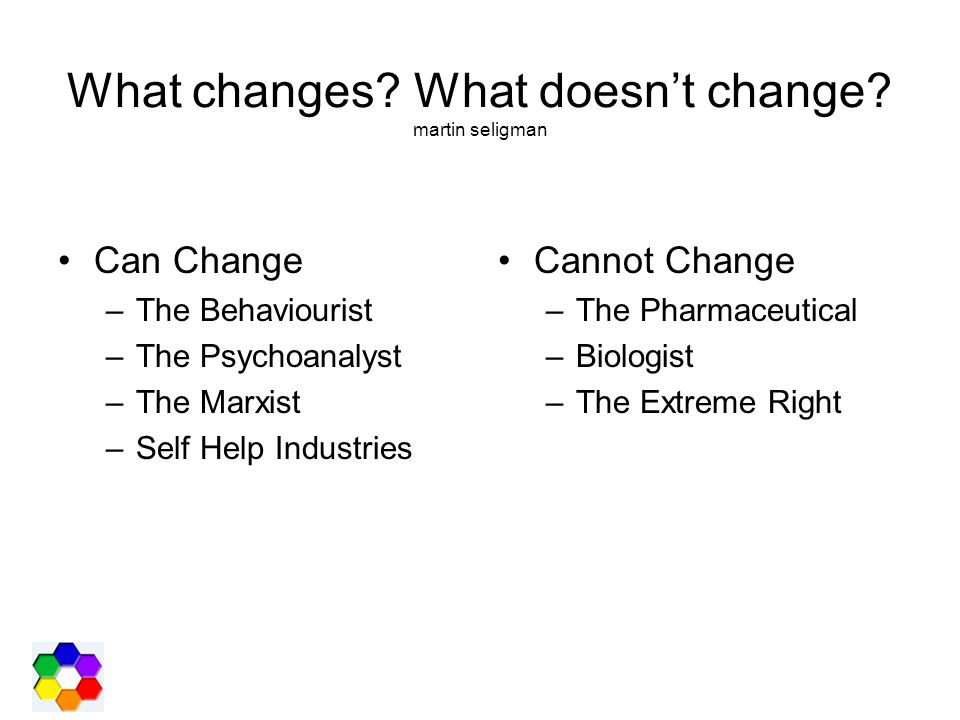 What changes? What doesn't change? martin seligman Can Change –The Behaviourist –The Psychoanalyst –The Marxist –Self Help Industries Cannot Change –T