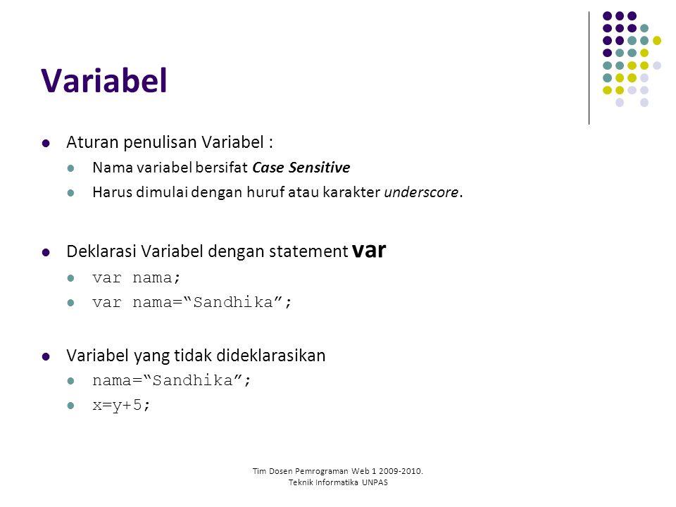 Tim Dosen Pemrograman Web 1 2009-2010. Teknik Informatika UNPAS Variabel Aturan penulisan Variabel : Nama variabel bersifat Case Sensitive Harus dimul