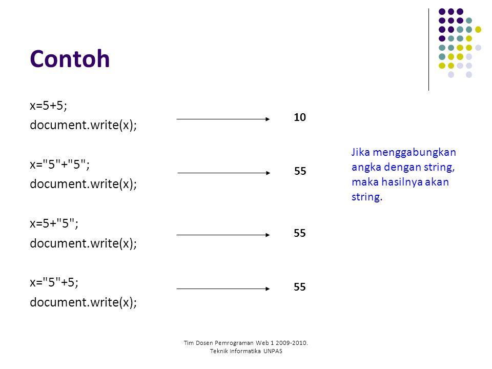 Tim Dosen Pemrograman Web 1 2009-2010. Teknik Informatika UNPAS Contoh x=5+5; document.write(x); x=