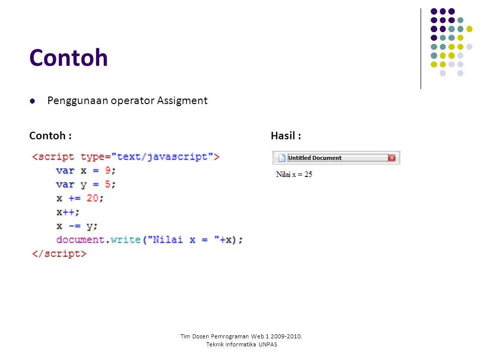Tim Dosen Pemrograman Web 1 2009-2010. Teknik Informatika UNPAS Contoh Penggunaan operator Assigment Contoh :Hasil :