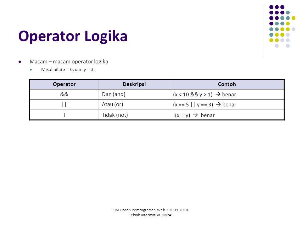 Tim Dosen Pemrograman Web 1 2009-2010. Teknik Informatika UNPAS Operator Logika Macam – macam operator logika Misal nilai x = 6, dan y = 3. OperatorDe