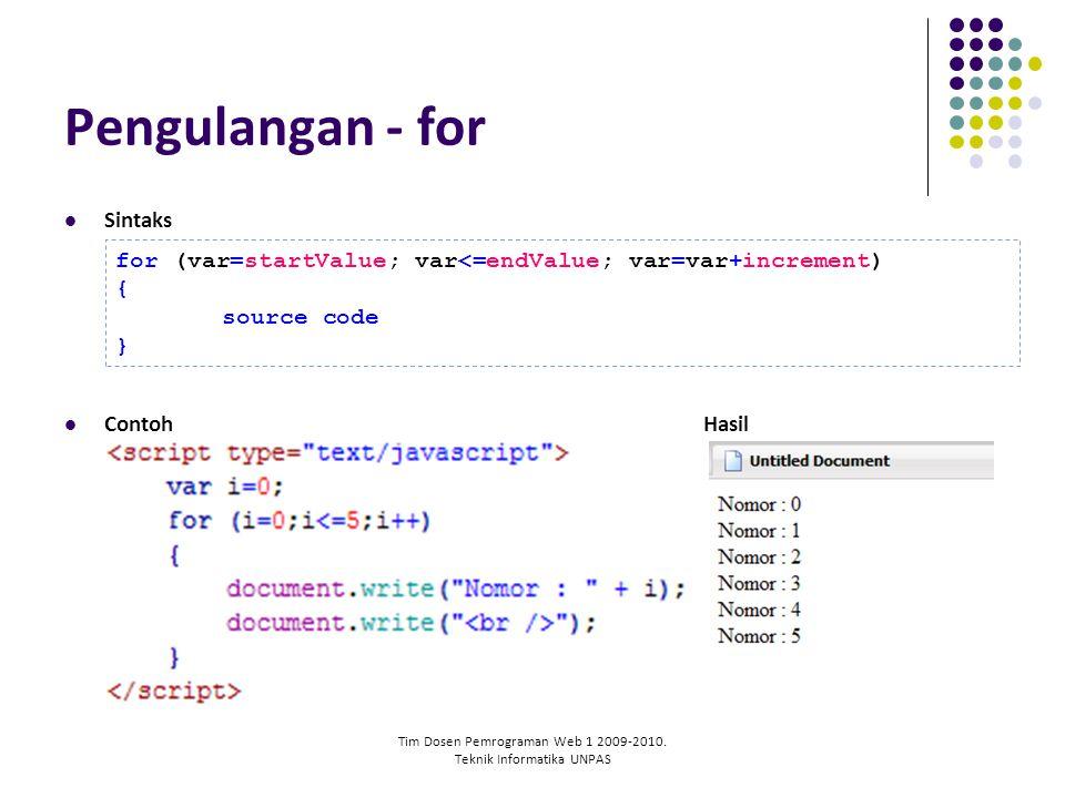 Tim Dosen Pemrograman Web 1 2009-2010. Teknik Informatika UNPAS Pengulangan - for Sintaks ContohHasil for (var=startValue; var<=endValue; var=var+incr