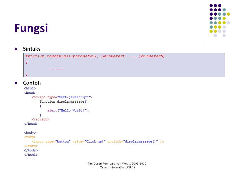 Tim Dosen Pemrograman Web 1 2009-2010. Teknik Informatika UNPAS Fungsi Sintaks Contoh function namaFungsi(parameter1, parameter2,... parameterN) {....