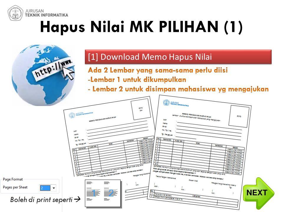 Hapus Nilai MK PILIHAN (2) [2] Baca bagian CATATAN & Isi Form Point [1]Point [1] [2] Baca bagian CATATAN & Isi Form Point [1]Point [1] Tanda tangan mhs  No.