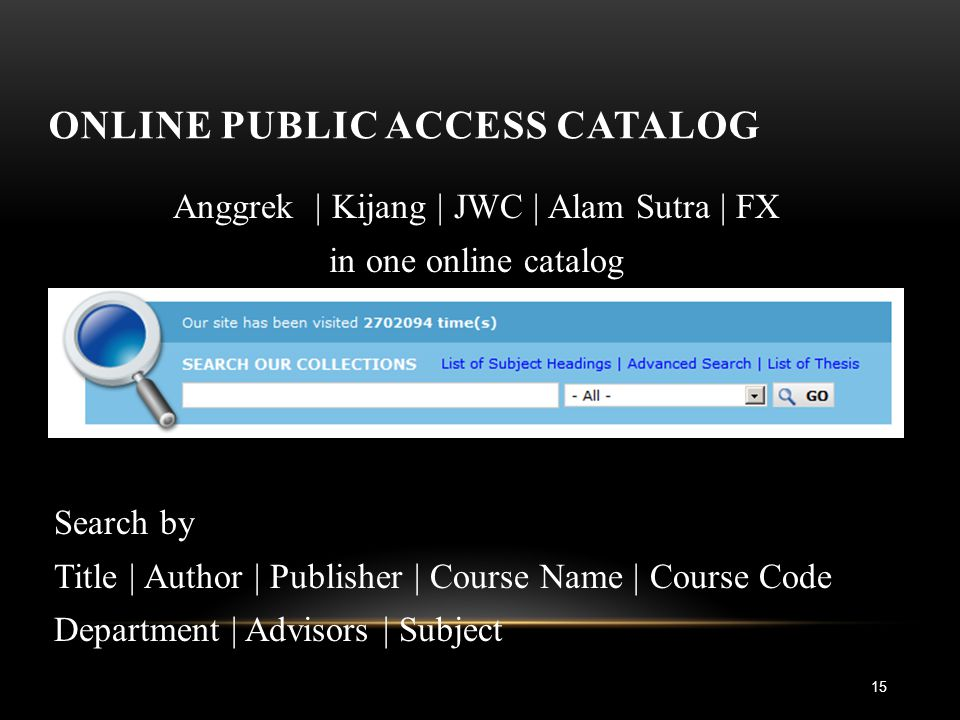 ONLINE PUBLIC ACCESS CATALOG 15 Anggrek | Kijang | JWC | Alam Sutra | FX in one online catalog Search by Title | Author | Publisher | Course Name | Course Code Department | Advisors | Subject