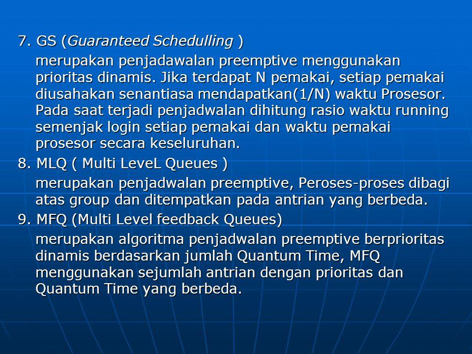7. GS (Guaranteed Schedulling ) merupakan penjadawalan preemptive menggunakan prioritas dinamis. Jika terdapat N pemakai, setiap pemakai diusahakan se