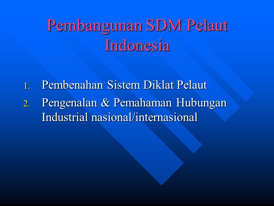 Pembangunan SDM Pelaut Indonesia 1. Pembenahan Sistem Diklat Pelaut 2. Pengenalan & Pemahaman Hubungan Industrial nasional/internasional