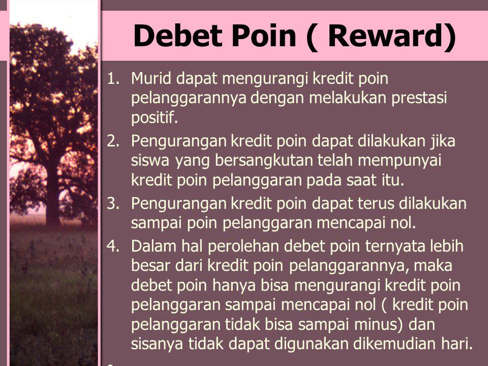 Debet Poin ( Reward) 1.Murid dapat mengurangi kredit poin pelanggarannya dengan melakukan prestasi positif. 2.Pengurangan kredit poin dapat dilakukan