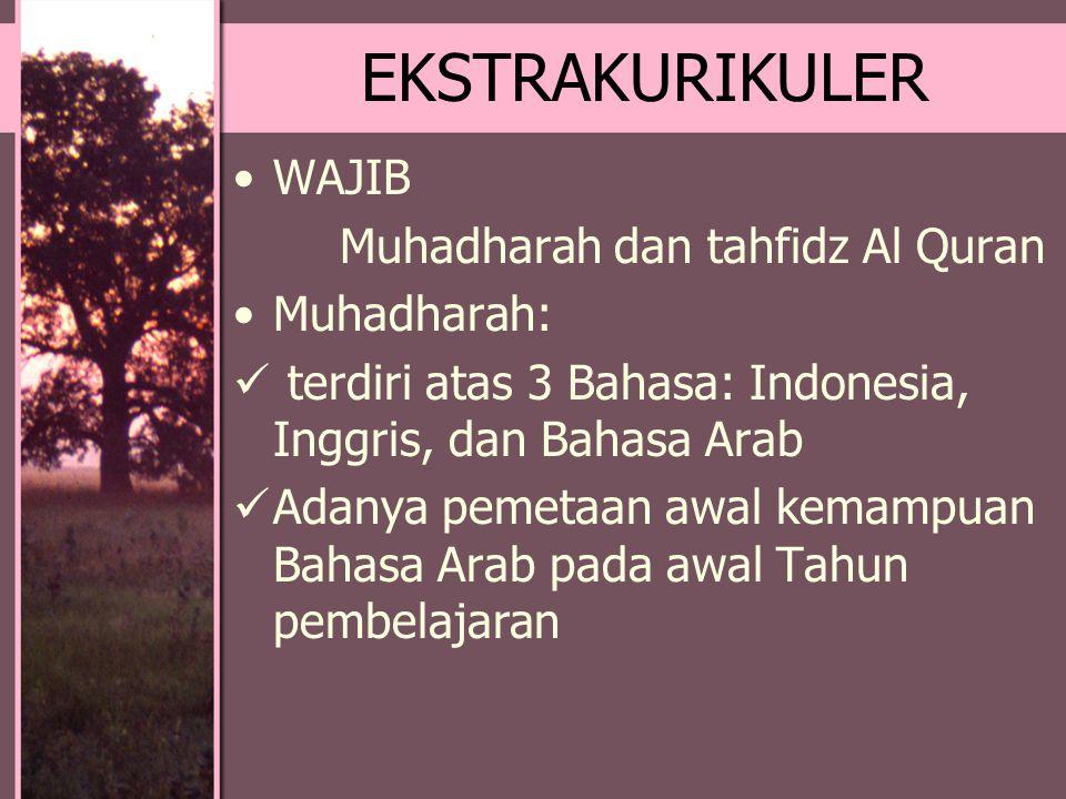 EKSTRAKURIKULER WAJIB Muhadharah dan tahfidz Al Quran Muhadharah: terdiri atas 3 Bahasa: Indonesia, Inggris, dan Bahasa Arab Adanya pemetaan awal kema