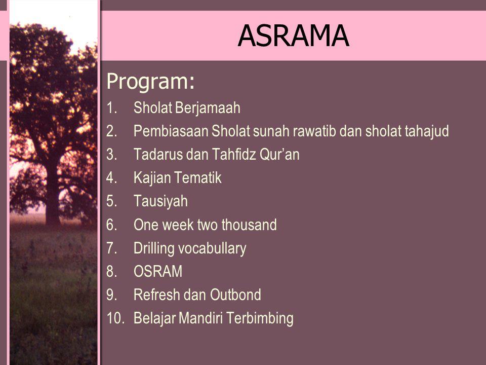 ASRAMA Program: 1.Sholat Berjamaah 2.Pembiasaan Sholat sunah rawatib dan sholat tahajud 3.Tadarus dan Tahfidz Qur'an 4.Kajian Tematik 5.Tausiyah 6.One