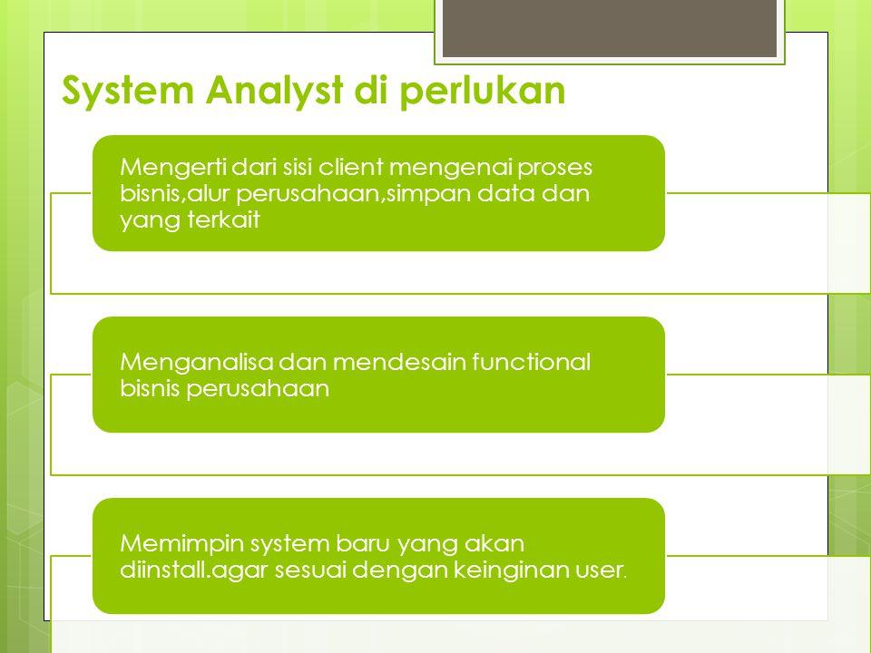 System Analyst di perlukan Mengerti dari sisi client mengenai proses bisnis,alur perusahaan,simpan data dan yang terkait Menganalisa dan mendesain functional bisnis perusahaan Memimpin system baru yang akan diinstall.agar sesuai dengan keinginan user.