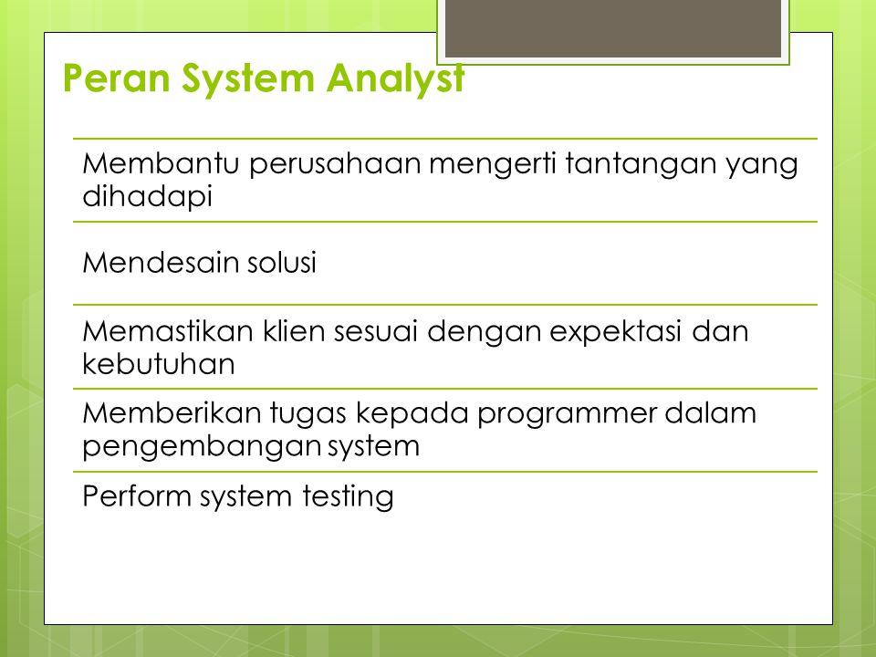 Peran System Analyst Membantu perusahaan mengerti tantangan yang dihadapi Mendesain solusi Memastikan klien sesuai dengan expektasi dan kebutuhan Memberikan tugas kepada programmer dalam pengembangan system Perform system testing