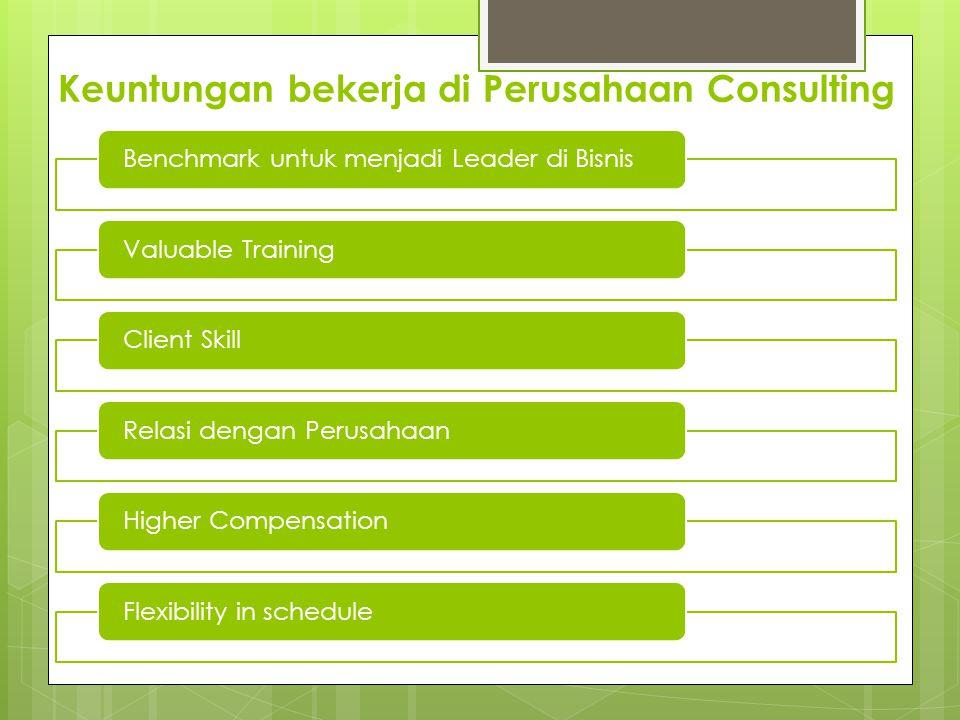 Keuntungan bekerja di Perusahaan Consulting Benchmark untuk menjadi Leader di BisnisValuable TrainingClient SkillRelasi dengan PerusahaanHigher CompensationFlexibility in schedule